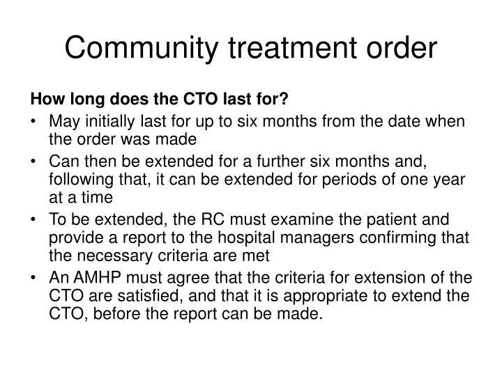 Community treatment order