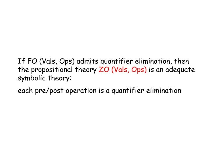 If FO (Vals, Ops) admits quantifier elimination, then the propositional theory