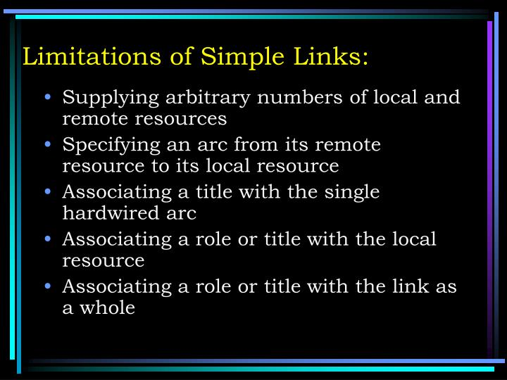 Limitations of Simple Links: