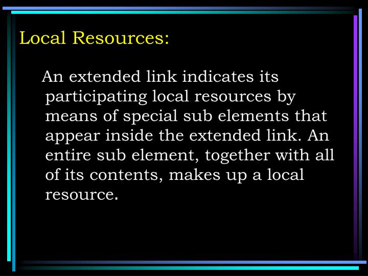 Local Resources: