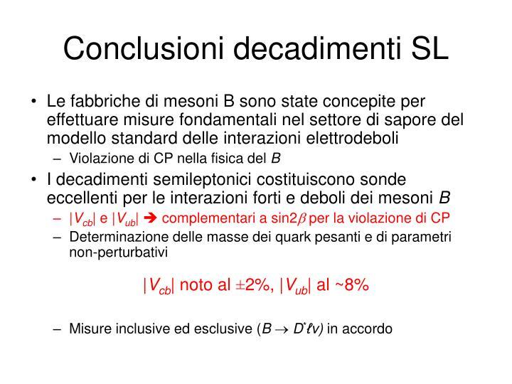 Conclusioni decadimenti SL