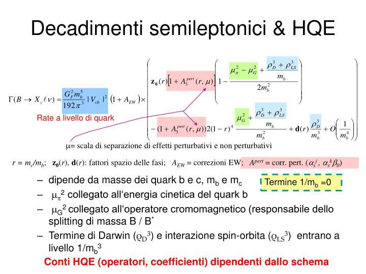 Decadimenti semileptonici & HQE
