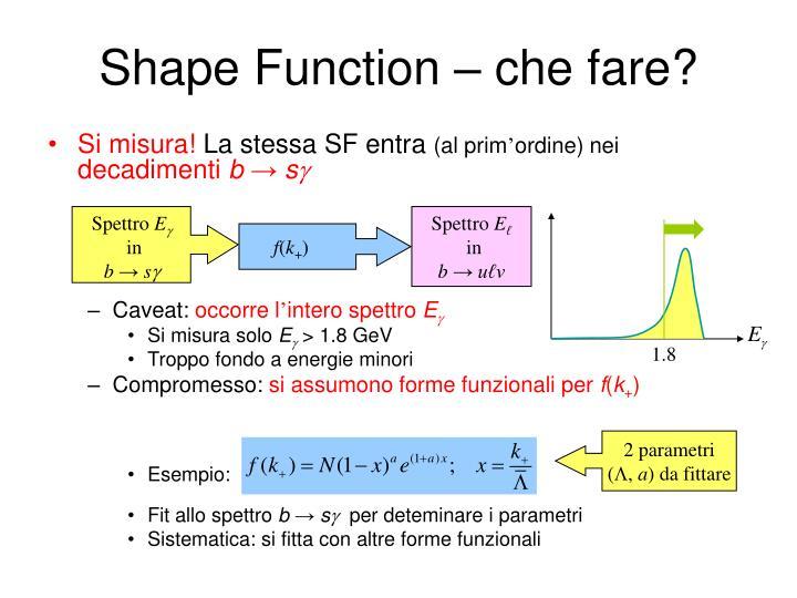 Shape Function – che fare?
