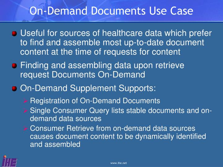 On demand documents use case