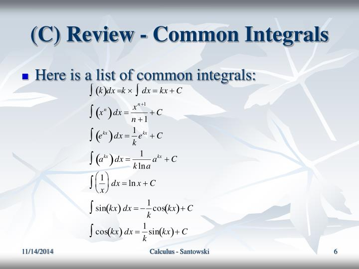 (C) Review - Common Integrals