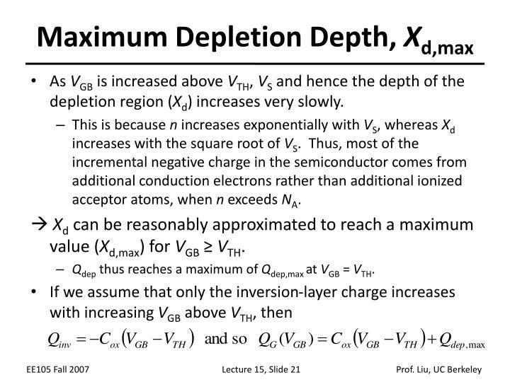 Maximum Depletion Depth,