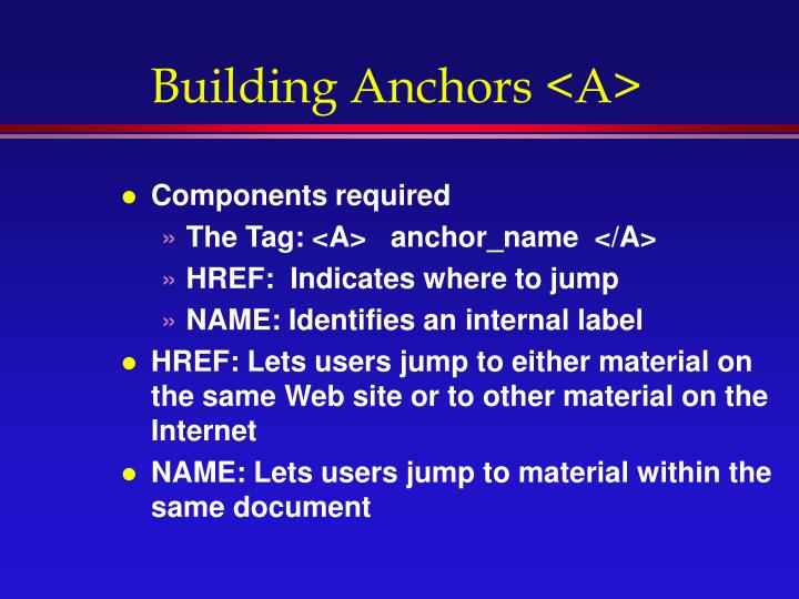 Building Anchors <A>