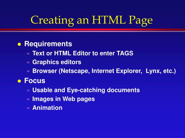 Creating an HTML Page