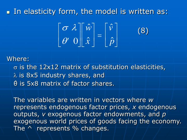 In elasticity form, the model is written as: