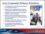area command primary functions