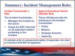 summary incident management roles