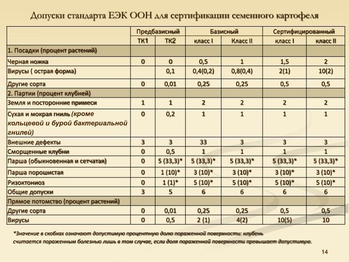 Допуски стандарта ЕЭК ООН для сертификации семенного картофеля