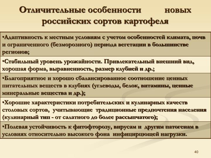 Отличительные особенности          новых российских сортов картофеля