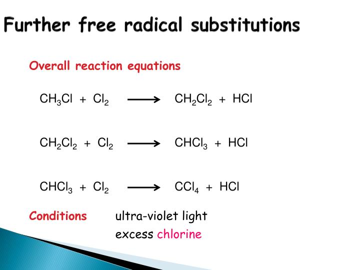 Further free radical substitutions