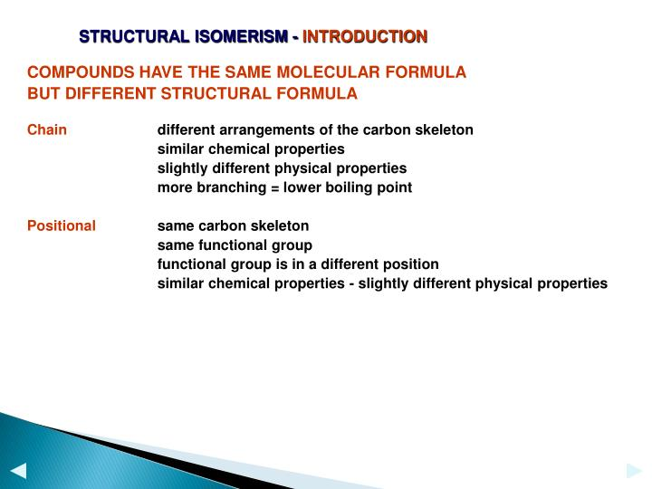 STRUCTURAL ISOMERISM -