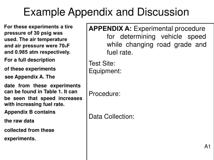 Example Appendix and Discussion