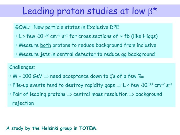 Leading proton studies at low