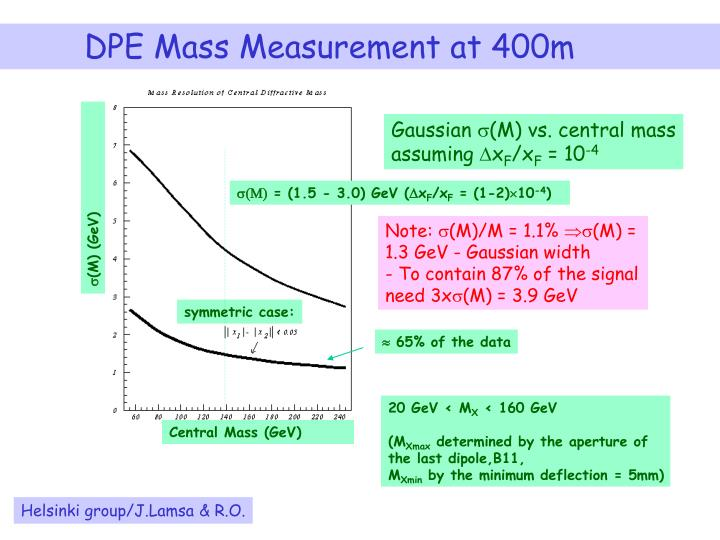 DPE Mass Measurement at 400m