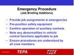 emergency procedure job briefing additions