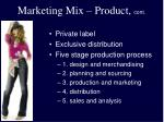 marketing mix product cont
