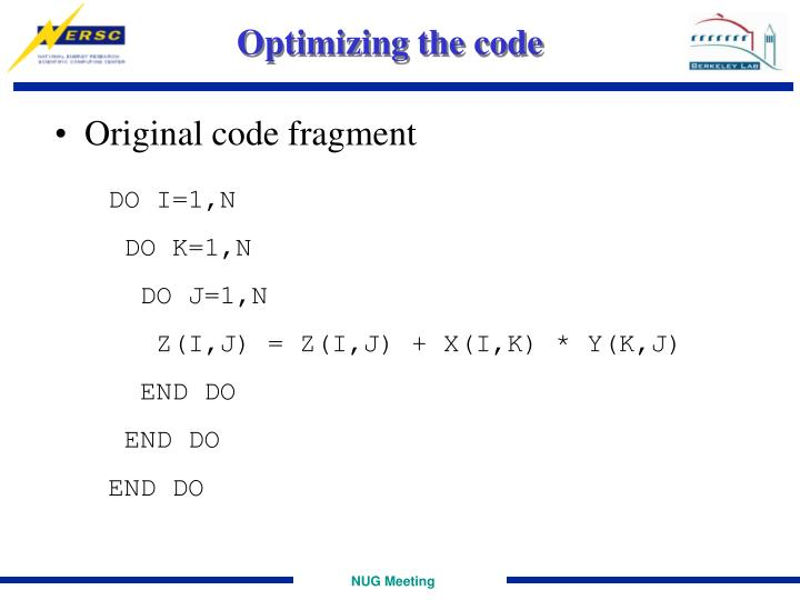 Optimizing the code