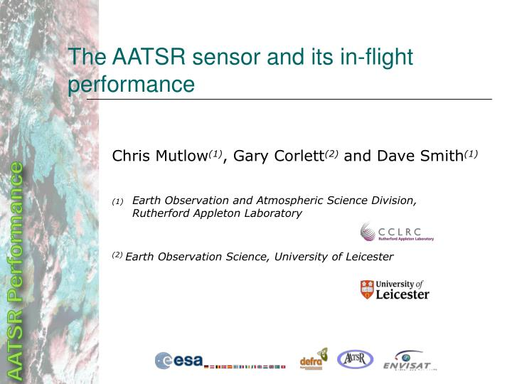 the aatsr sensor and its in flight performance