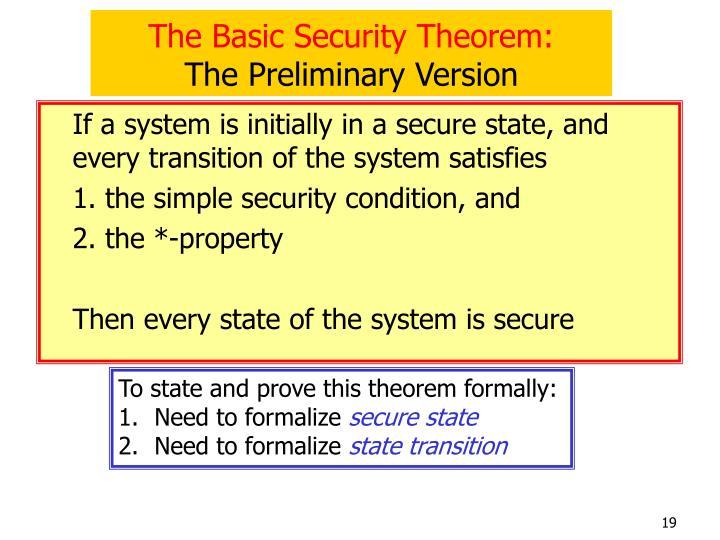 The Basic Security Theorem: