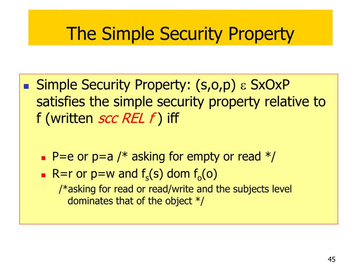 The Simple Security Property