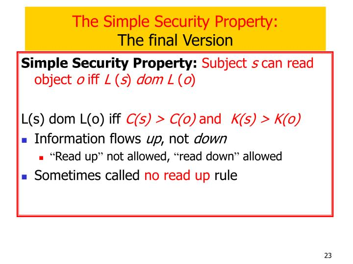 The Simple Security Property: