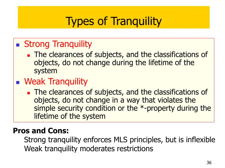 Types of Tranquility