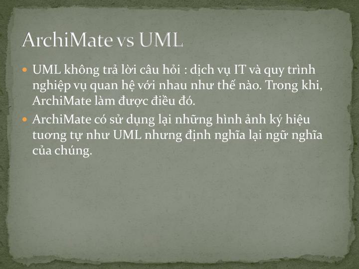 ArchiMate vs UML
