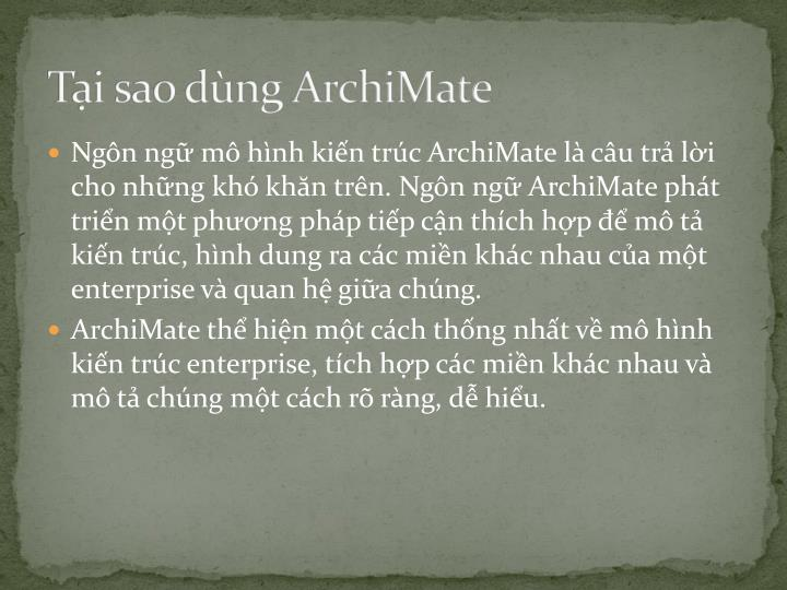 Tại sao dùng ArchiMate