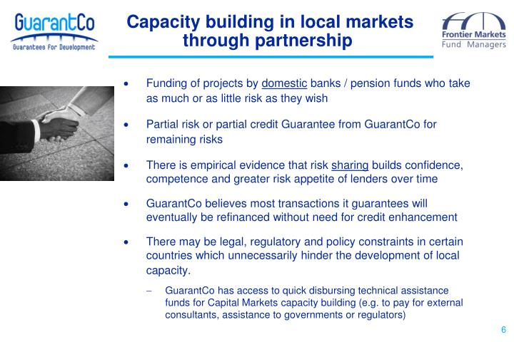 Capacity building in local markets