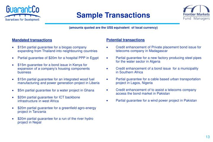 Sample Transactions