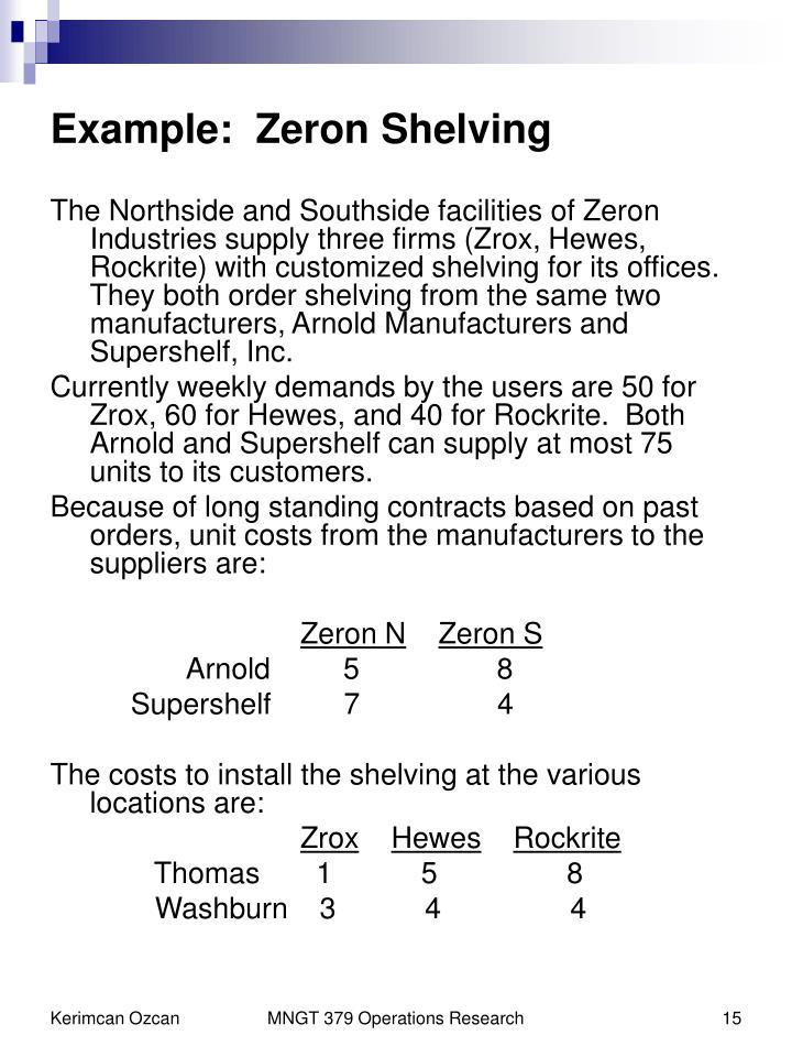 Example:  Zeron Shelving