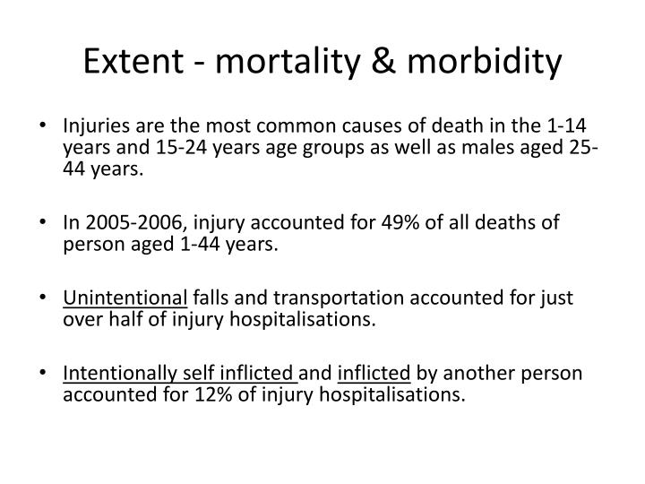 Extent - mortality & morbidity