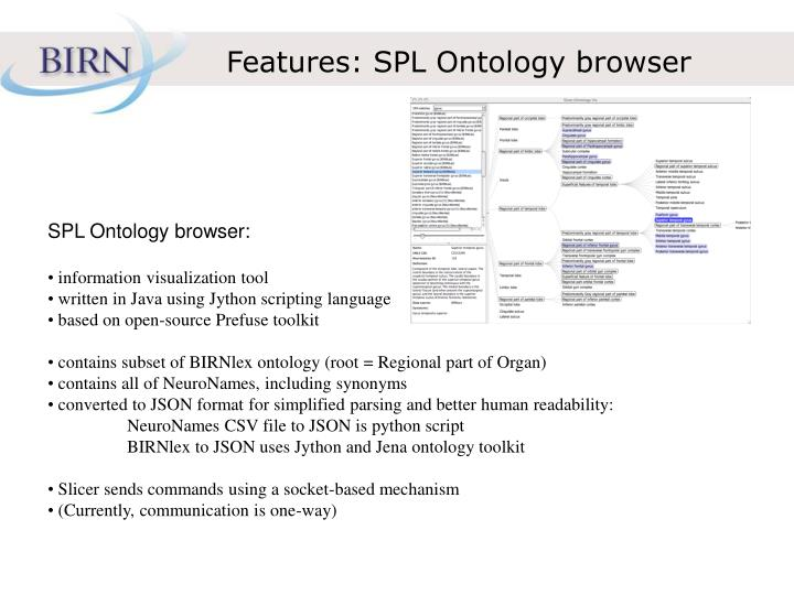Features: SPL Ontology browser