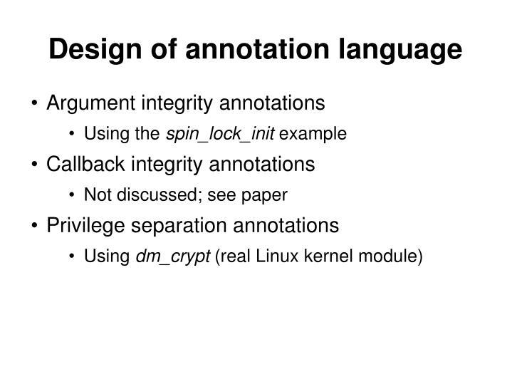 Design of annotation language