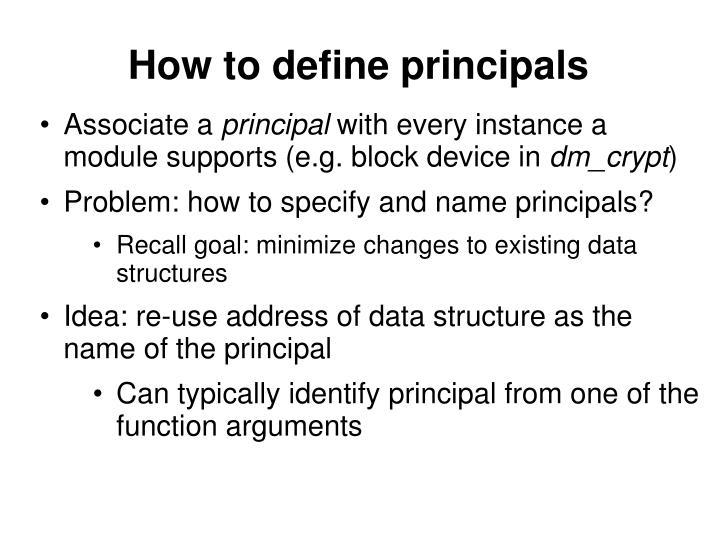How to define principals