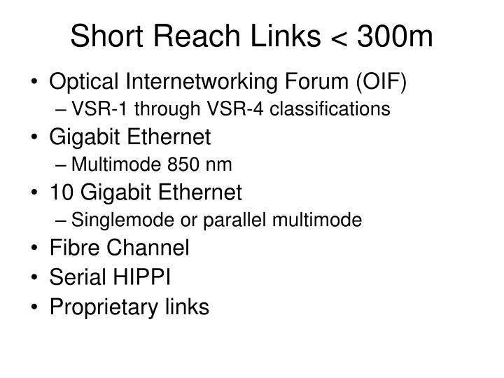 Short reach links 300m