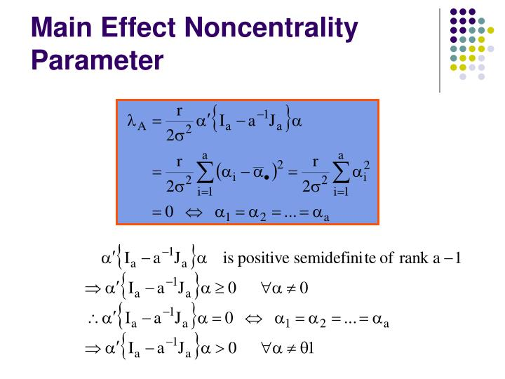 Main Effect Noncentrality Parameter