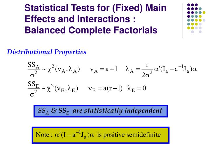 Statistical Tests for (Fixed) Main Effects and Interactions :