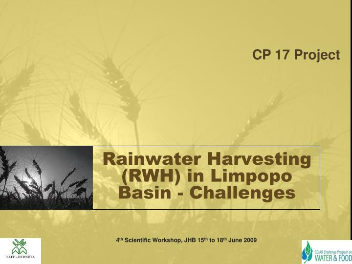 rainwater harvesting rwh in limpopo basin challenges