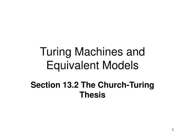 turing machines and equivalent models