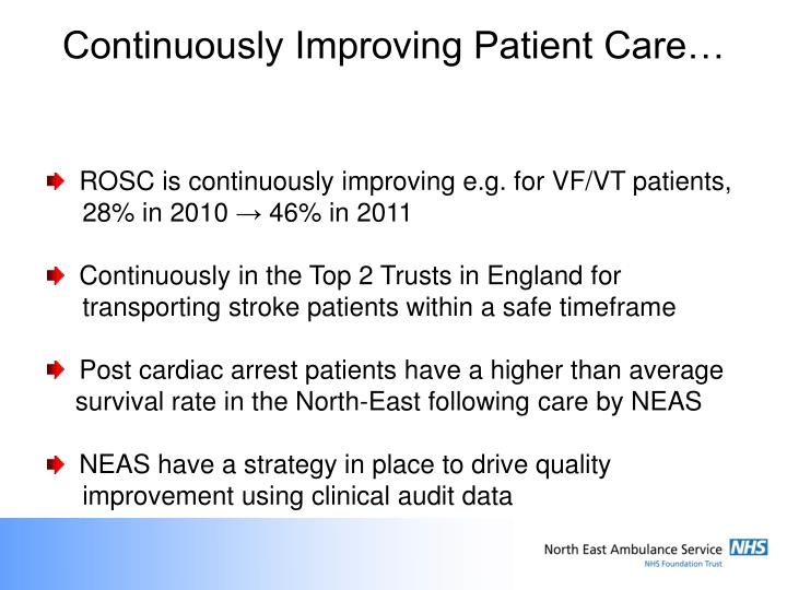 Continuously Improving Patient Care…