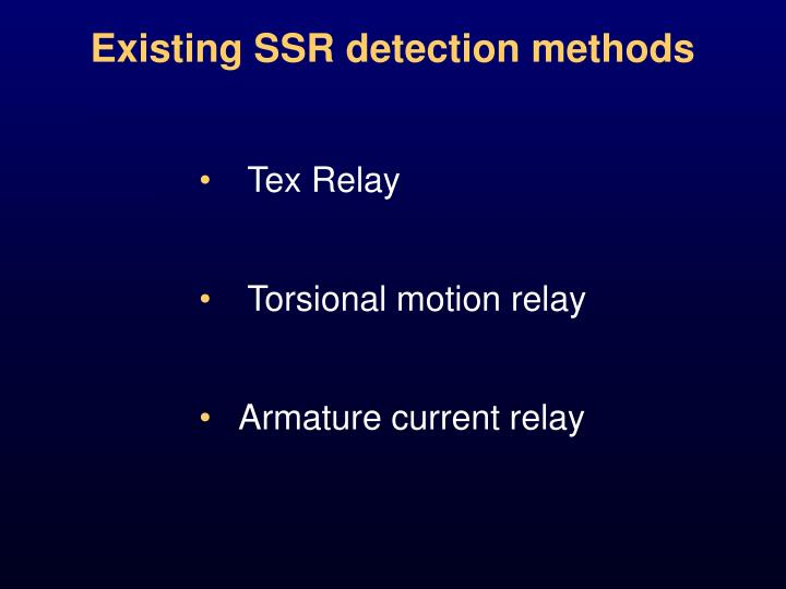 Existing SSR detection methods
