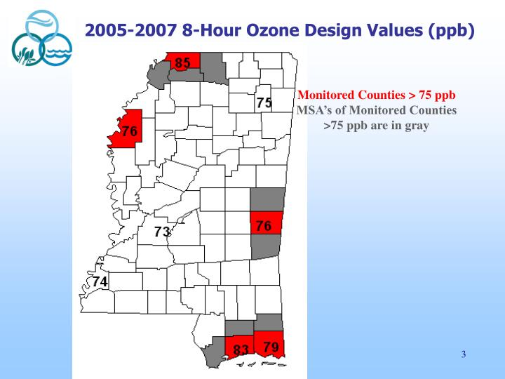 2005 2007 8 hour ozone design values ppb