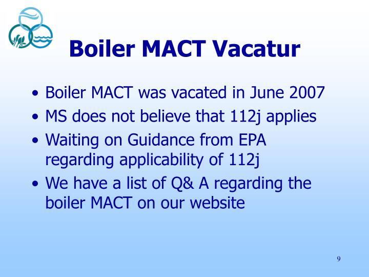 Boiler MACT Vacatur