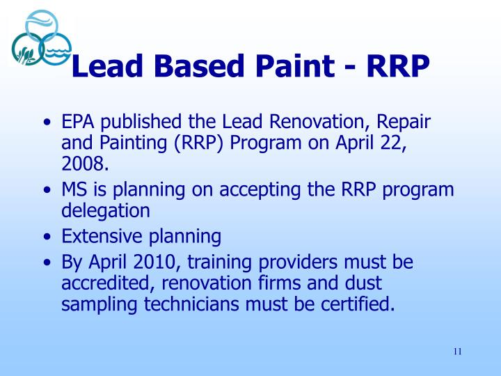 Lead Based Paint - RRP