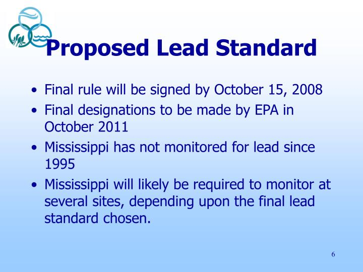 Proposed Lead Standard